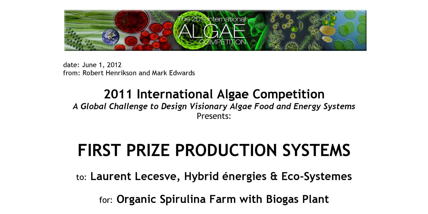Premier prix concours système de production
