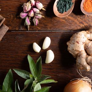 Plantes et épices symbole de l'ayurvéda